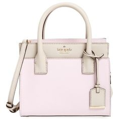 kate spade new york 'cameron street - mini candace' leather satchel (5,695 MXN) ❤ liked on Polyvore featuring bags, handbags, colorblock handbags, pink purse, leather purse, satchel purse and pink handbags
