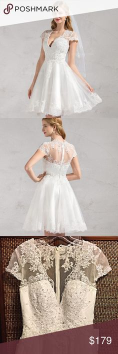 NWT wedding dress in Ivory-  PARTY SALE!! A-Line/Princess V-neck Knee-Length Tulle Wedding Dress With Lace Beading Appliques Lace Sequins -stunning!! Dresses Wedding