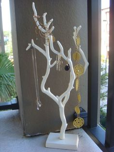 DIY Branch Jewelry Holder for the girls.  Preferably painted in sparkly glitter paint.