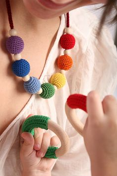 Nordic Rainbow Nursing / Babywearing /Teething necklace by Koukku, $22.00