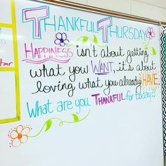 It's #thankfulthursday tomorrow!! Loving these whiteboard messages this week!! #miss5thswhiteboard #iteach7th #teachersfollowteachers #teachersofinstagram