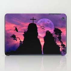"Bride and groom iPad Case A pair of lovers sitting on two famous rocks in my area, they are called ""Bride and Groom"".   Landscape, Germany, rocks, lovers, pair of lovers, twosome, romance, silhouettes, birds,  sky, clouds, full moon, purple, cross, trees, romantic, neo-mystical"