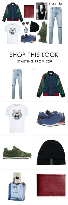 """""""Meet me at the Camp!"""" by radendas ❤ liked on Polyvore featuring Yves Saint Laurent, Gucci, Kenzo, New Balance Classics, New Balance, Calvin Klein, Merrell, Shinola, Oliver Peoples and men's fashion"""