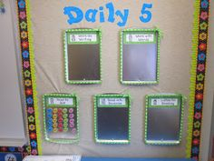 "Managing your literacy centers: Use magnetic pans & name magnets on a bulletin board.  (This teacher uses ""The Daily Five"" but you could name the centers any way you'd like.))"