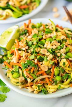 Zoodle Pad Thai – an easy, healthy and delicious vegetarian pad Thai that's ready in just 30 minutes! Recipe includes option to make vegan pad thai. {gluten free, dairy free, low carb} wellplated.com | @wellplated