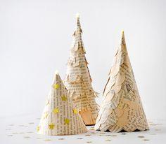 miss red fox: DIY Tannenbäume aus einem alten Buch