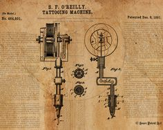 "Title: Vintage Patent Drawing Tattoo Machine Size: 11"" x 14"" (available in larger sizes) Medium: Fine art giclee print on gallery wrapped canvas NOTE: room view shown is of one of the larger canvas si"