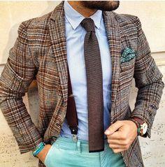 Maroon Suspenders Cyan Chinos Strip Ties Brown Plaid Blazer
