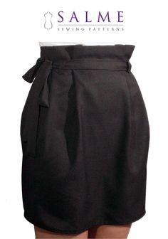 Patron de couture de PDF jupe de taille de sac par Salmepatterns