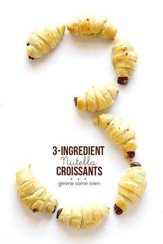 3 Ingredient Nutella Croissants   gimmesomeoven.com #dessert #chocolate
