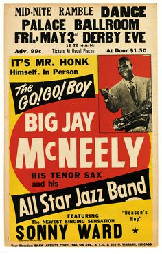 Classic R  B Concert Poster - Big Jay McNeely  Sonny Ward / 50s?