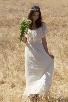 """Olie"" Short Sleeved Ivory Lace Vintage Wedding by Daughters Of Simone, $532.00"