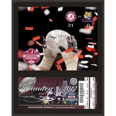 Alabama Crimson Tide 2011 National Championship 12'' x 15'' Sublimated Replica Ticket Plaque