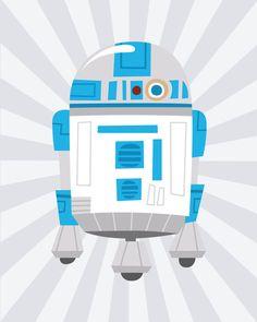 Star Wars R2 D2 Retro Robot Wall Art Print 8x10 by DesignHappi