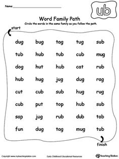 Worksheets Word Family Ay ay word family list shorts kindergarten and families ub path