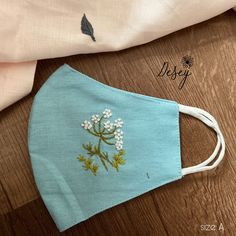 Embroidery Flowers Pattern, Hand Embroidery Designs, Diy Embroidery, Embroidery Stitches, Diy Mask, Diy Face Mask, Face Mask Set, Diy Belt For Dresses, Mouth Mask Fashion