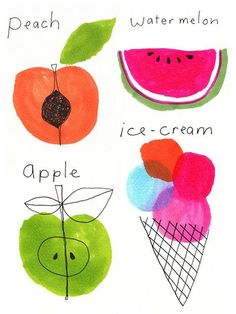Interview – Jane Reiseger – The Design Files Food Illustrations, Illustration Art, Peach Water, Watercolor Fruit, Background Drawing, Watercolor Projects, Fruit Art, Fun Fruit, Summer Prints