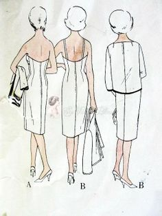 1960s Jacques Griffe Evening Cocktail Dress and Jacket Pattern Camisole or Strapless Sheath Fitted Bra Section, Low Back, Loose Overblouse V...