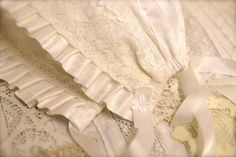 White Silk Baby Bonnet lace and silk Christening bonnet.