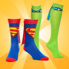 Super Hero Socks... Kat, I need these, right MEOW!! We could wear these to work as part of our uniforms... I always said it needs a cape...