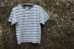 Very Chill 90s Geometric Striped Blue and White Grunge T Shirt. Navy Ringer Collar. Size Small. 60/40 Cotton/Polyester. Made by Oxygen. by MesaWare on Etsy https://www.etsy.com/listing/479351813/very-chill-90s-geometric-striped-blue