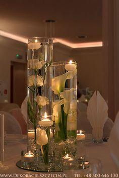 dekoracja ślubna pływające świece