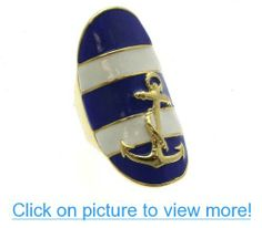 Nautical Royal Blue and White Goldtone Anchor Stretch Ring Anchor Rings, Band Rings, Royal Blue, Fashion Brands, Stretches, Nautical, Topshop, Fashion Jewelry, Blue And White