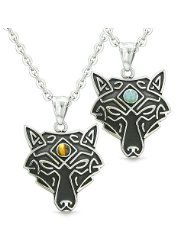 Celtic Wolf All Seeing Third Wisdom Eye Magic Protection Amulet Tiger Eye Pendant 22 inch Necklace