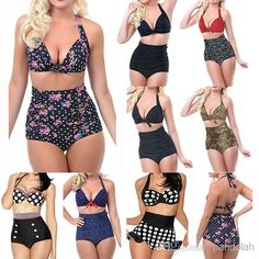 Wholesale Bikini - Buy 2015 Women High Waist Swimsuit Vintage Dotted Leopard Push Up Halter Padded Sexy Bikini Set Plus Size S -2XL, $11.04 | DHgate