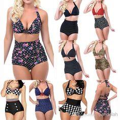Wholesale Bikini - Buy 2015 Women High Waist Swimsuit Vintage Dotted Leopard Push Up Halter Padded Sexy Bikini Set Plus Size S -2XL, $11.04 | DHgate