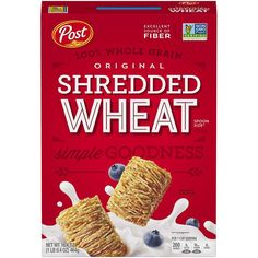 The Post Shredded Wheat Original Spoon Size Cereal is a 100% natural, whole grain wheat cereal. Wholesome and fiber rich, this breakfast cereal contains no added sugar or salt, making it a healthy breakfast alternative. With 6 packs of Post Shredded Wheat spoon size cereal, this bulk case will be an ideal choice for office cafeterias, retail stores, and supermarkets. Shredded Wheat Cereal, Sources Of Fiber, Breakfast Cereal, Spoon, Breakfast Recipes, The Originals, Ps4, Kitten, Foods