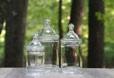 A personal favorite from my Etsy shop https://www.etsy.com/listing/230756077/set-of-three-vintage-clear-glass