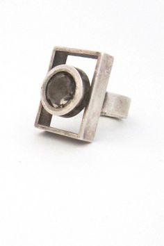 Elis Kauppi for Kupittaan Kulta, vintage silver & smoky quartz ring. #Finland