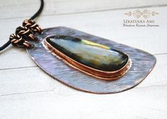 Halloween Sale Stone labradorite in the copper by SzkatulkaAmi