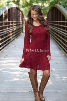 The Pink Lily Boutique - Leave You Breathless Dress Wine, $42.00 (http://thepinklilyboutique.com/leave-you-breathless-dress-wine/)