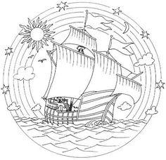 Mandala bateau by angelia Pattern Coloring Pages, Colouring Pages, Adult Coloring Pages, Coloring Books, Mosaic Patterns, Embroidery Patterns, Mandala Art, Bing Bilder, Parchment Craft