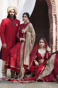 RedPink #Desi #Indian_Wedding by http://www.Sabyasachi.com/ @sabya_mukherjee <3<3  Look at the luxe of the fabrics carefully wear this with exquisite jewelry and your will pull off a classy look.