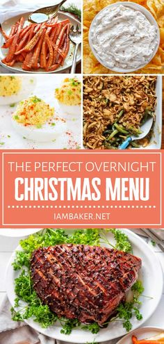 Hosting a big get-together this Christmas in July? Check out The Perfect Overnight Christmas Menu! Make holiday entertaining less stressful with these easy recipes. From breakfast, to a light lunch, to appetizers, to desserts, these food ideas can serve a crowd! Winter Dinner Recipes, Holiday Recipes, Easy Recipes, Easy Meals, Delicious Recipes, Tasty, Oven Cooking, Cooking Recipes, Ham Breakfast