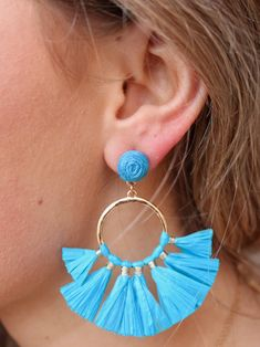 Riko Post Drop Earring WIth Raffia Tassel Hoop Drop-Turquoise Miss Texas, Half Circle, Diy Jewellery, Jewelry, Tassels, Turquoise, Drop Earrings, Hoop, Beading