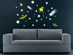 Stars and Spaceships Decal Sticker Wall space by dabbledownJunior, $36.00