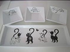Lin Van Porcelaines Tout pour l'apéritif motifs chats, fleurs, olives, decors modernes