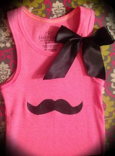Mustache please! Neon pink tank with black mustache and black satin bow 9.99 @Matty Chuah Gaudy girl Exchange on FB