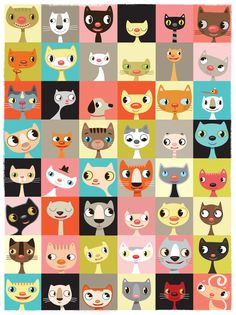65 Best Ideas For Wall Paper Cat Illustration Art Prints Crazy Cat Lady, Crazy Cats, I Love Cats, Cute Cats, Photo Chat, Art Et Illustration, Pattern Illustration, Art Illustrations, Cat Wallpaper