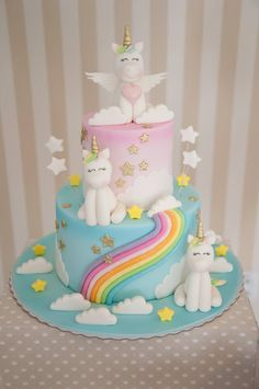 Unicorn Party: 25 incredible inspirations to surprise guests! - - baby kuchen - first birthday cake-Erster Geburtstagskuchen Baby Birthday Cakes, Unicorn Birthday Parties, Unicorn Party, Girl Cakes, Baby Cakes, Bolo Fack, Unicorne Cake, Little Pony Cake, Rainbow Birthday