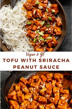 recipes noodles stir fry Baked Tofu with Spicy Peanut Sauce Healthy Salmon Cakes, Healthy Salmon Recipes, Veggie Recipes, Asian Recipes, Whole Food Recipes, Vegetarian Recipes, Cooking Recipes, Spicy Tofu Recipes, Lunch Recipes