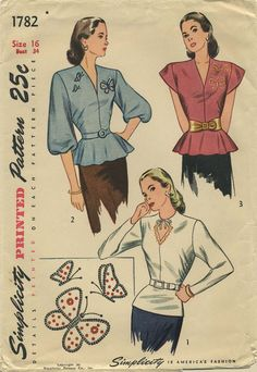 Vintage Sewing Pattern | Blouse | Simplicity 1782 | Year 1946 | Bust 34 | Waist 28 | Hip 37
