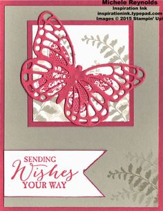 "Handmade card using Stampin' Up! products - Butterfly Basics Stamp Set, Butterflies Thinlits, and 1"" Square Punch.  By Michele Reynolds, Inspiration Ink, http://inspirationink.typepad.com/inspiration-ink/2015/04/butterfly-basics-strawberry-butterfly-wishes.html.  #stampinup #inspirationink #butterflybasics"