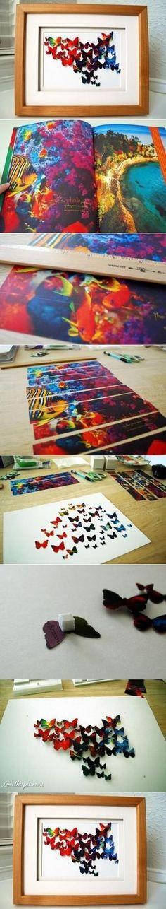 DIY Butterfly Wall Art diy crafts crafty diy decor diy home decor easy diy diy art for the home by lihoffmann