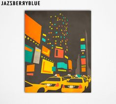 Large Giclee Fine Art Print Abstract New York por JazzberryBlue, $30.00