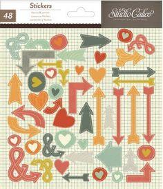 Darling Dear Hearts & Arrows 6X7 Stickers by Studio Calico - Two Peas in a Bucket $2.99